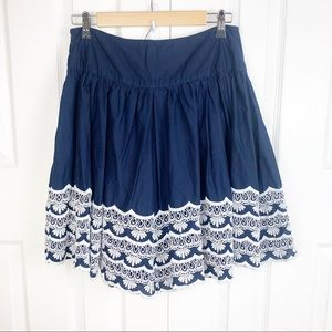 INC S Cotton Skirt Lace Embroidered Trim